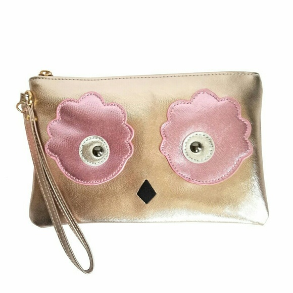 Chateau Handbags - Chateau Rose Gold Owl Wristlet